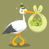 Scared stork delivery. Scared stork delivering a newborn baby crocodile on a green blanket Stock Photos