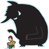 Scared Student and Monster. Scared child at desk with giant monster shadow vector illustration