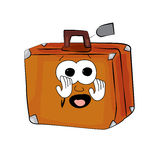 Scared Suitcase cartoon Stock Images