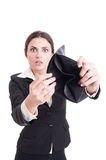Scared and surprised business woman showing empty wallet Stock Image