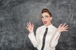 Scared teacher Stock Photo