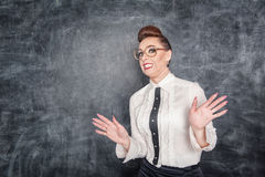 Scared teacher in the eyeglasses Royalty Free Stock Photo