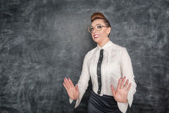 Scared teacher in the eyeglasses Stock Photography