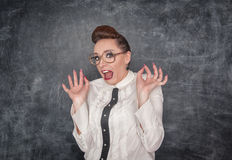 Scared teacher in the eyeglasses Royalty Free Stock Images