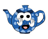 Scared Teapot cartoon Stock Photography