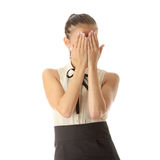 Scared teen. Woman isolated on white background royalty free stock images
