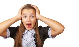 Scared Teen Girl Screaming In Horror Stock Image