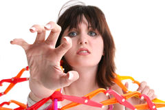 Scared Teen Girl Trapped In Giant Expandable Ball Royalty Free Stock Photography