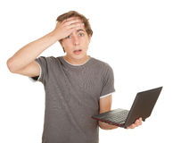 Scared teenager with laptop Stock Image