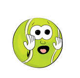 Scared tennis ball cartoon Royalty Free Stock Photos