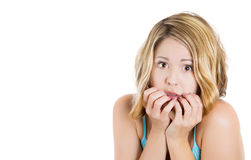 Scared , terrified lonely young blonde woman looking at you with big eyes royalty free stock image