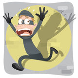 Scared thief running. Royalty Free Stock Photo