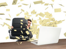 Scared by too many email Stock Photography