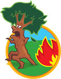 Scared Tree Running from Fire. Safety Concept Including Vector Format Royalty Free Stock Images