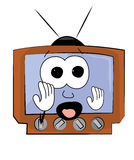 Scared tv cartoon Royalty Free Stock Images