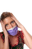 Scared of the virus. Caucasian woman in his 40s protecting herself from pandemic virus Stock Photo