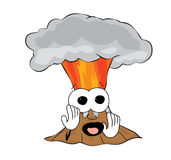 Scared volcano cartoon Royalty Free Stock Images