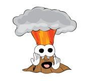 Scared volcano cartoon. Vector illustration of scared volcano cartoon Royalty Free Stock Images