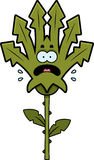 Scared Weed. A cartoon illustration of a weed looking scared stock illustration
