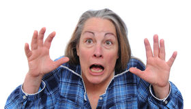 Scared woman. Terrified woman screaming for her life in shock and fear. Isolated on white background Stock Photography