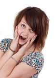 Scared woman. Screaming with hands on the face isolated on white background Stock Photos