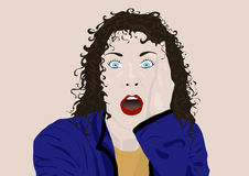 Scared woman. With mouth open illustration Royalty Free Stock Images