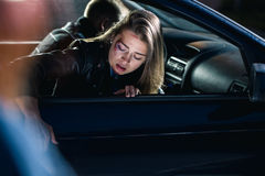 Scared woman after the accident Stock Image