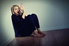 Scared woman. Afraid and screaming Stock Photos