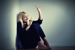 Scared woman. Afraid and screaming Stock Image