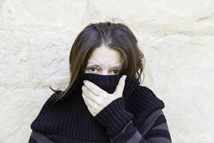 Scared woman blows Stock Images