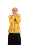 Scared woman covering mouth. Royalty Free Stock Photography