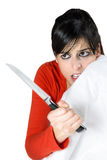 Scared woman defense Royalty Free Stock Photo
