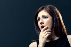 Scared woman face. With copy space Royalty Free Stock Photos
