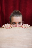 Scared woman face expression Stock Photography