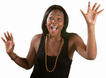 Scared Woman with Hands Up Royalty Free Stock Photos