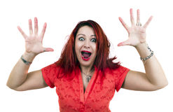 Scared woman with hands up. And mouth open. White background Royalty Free Stock Photography
