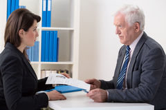 Scared woman during job interview Stock Photography