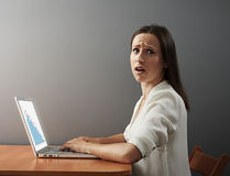 Scared woman with laptop Royalty Free Stock Images