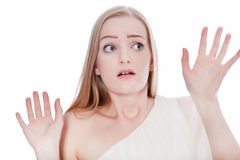 Scared Woman Raising Hands Up Royalty Free Stock Images