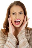 Scared woman screaming. Stock Photo