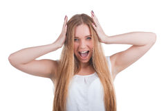 Scared woman screaming. With hands on the head isolated on white background Royalty Free Stock Photo