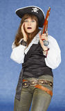 Scared woman - sea pirate with pistol Stock Photo