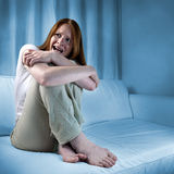 Scared woman showing fear Royalty Free Stock Photography