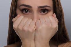 Scared woman. Stock Photos