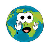 Scared World globe cartoon Stock Images
