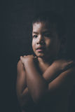 Scared young Asian boy Royalty Free Stock Photography