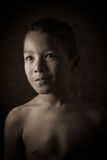 Scared young Asian boy Royalty Free Stock Photos