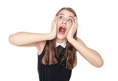 Scared young beautiful teenage girl screaming isolated Stock Photos