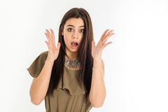 Scared young caucasian asian businesswoman Royalty Free Stock Photos