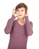 Scared young girl looking away Stock Photos